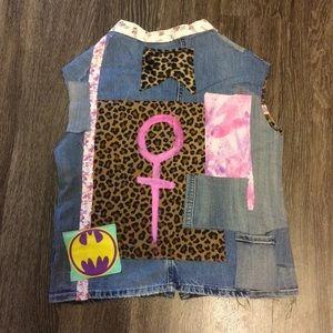 Punk Feminist denim leopard vest